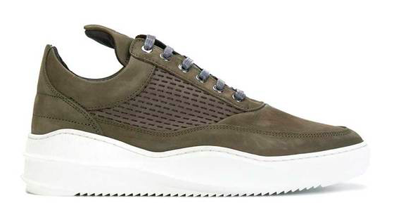 Filling Pieces Low Top Sky re-stitched Army Green maat