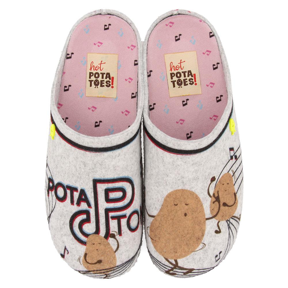 Hot Potatoes Pantoffels Fehrins 64638 Grijs-38 maat 38