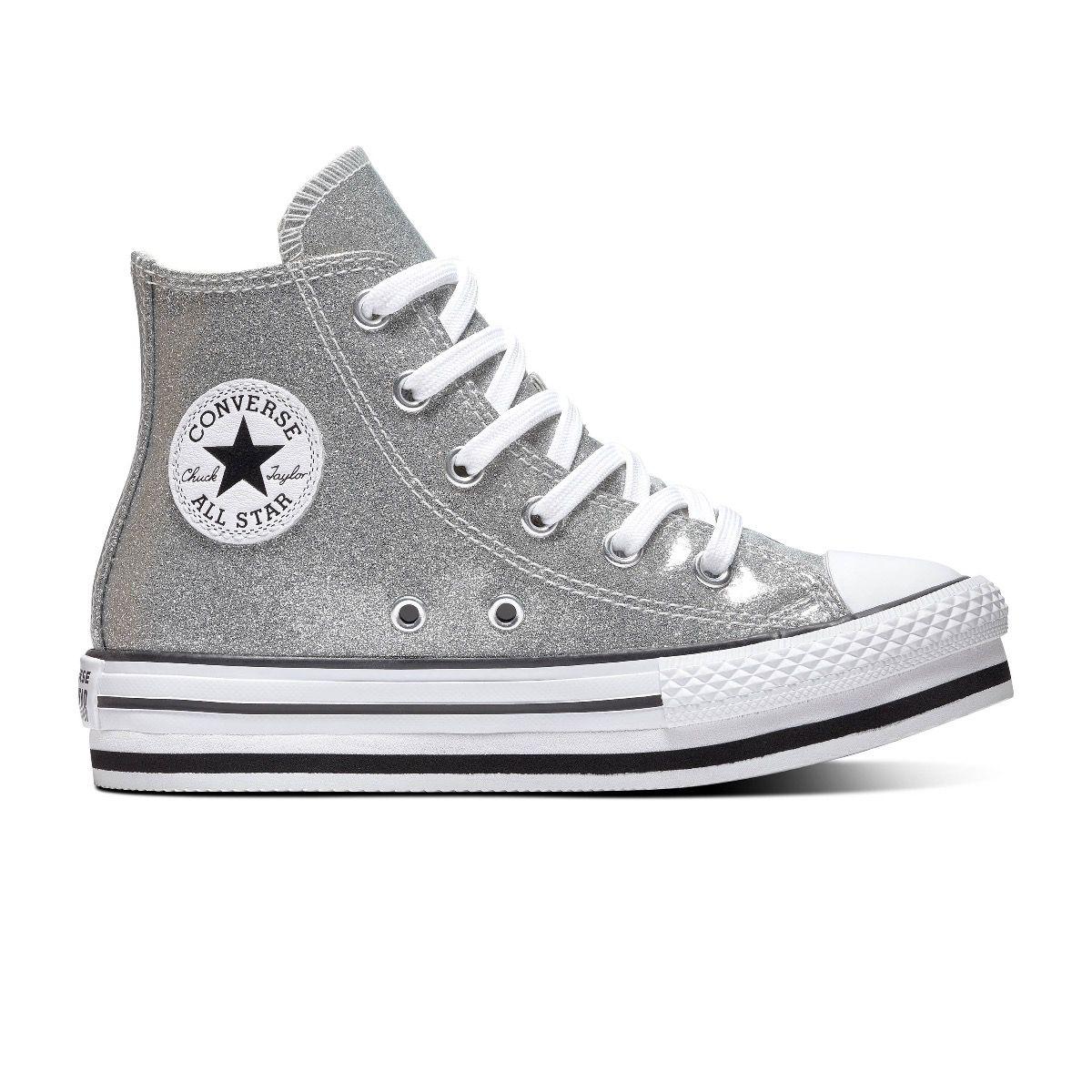 Converse All Stars Chuck Taylor Platform 666400C Zilver - Wit-37 maat 37
