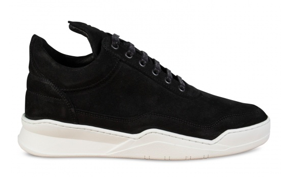 Filling Pieces Low Top Ghost Waxed Suede Black maat