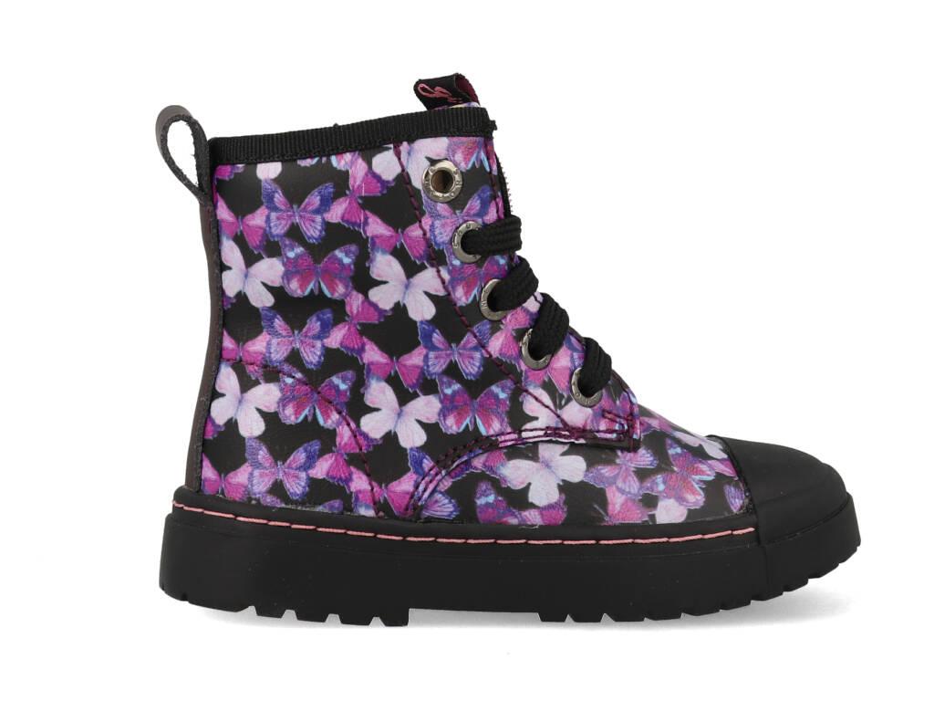 Shoesme Boot Biker Black Pink Butterfly SW21W011-A Zwart-25 maat 25