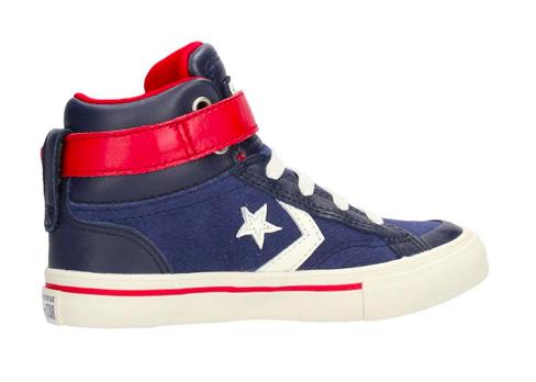 Converse All Stars Kids Pro Blaze Strep Leathers Hoog 662758C Blauw / Rood-34